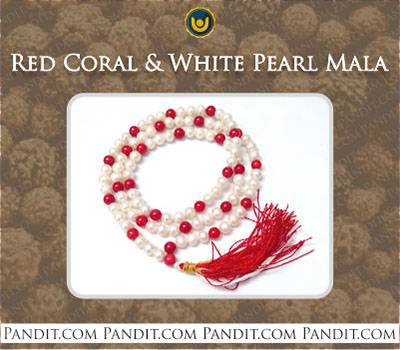Red Coral and White Pearl Mala